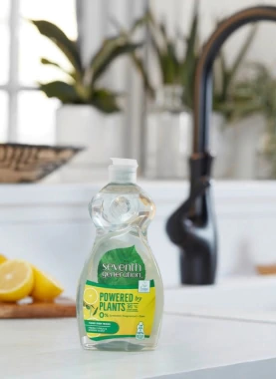 Washing up liquid bottle made with 100% recycled plastic