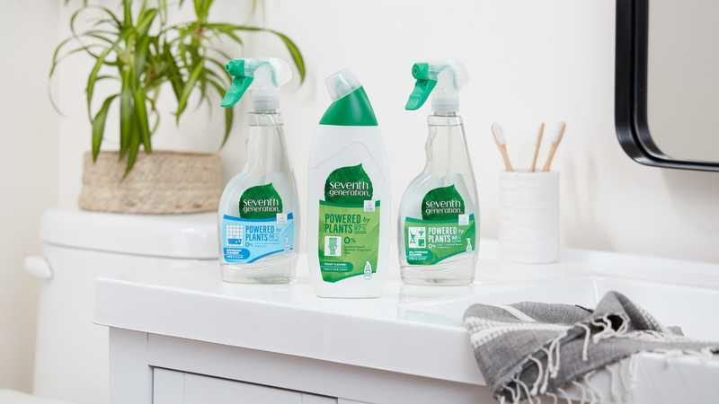 Seventh Generation House hold cleaners in the bathroom