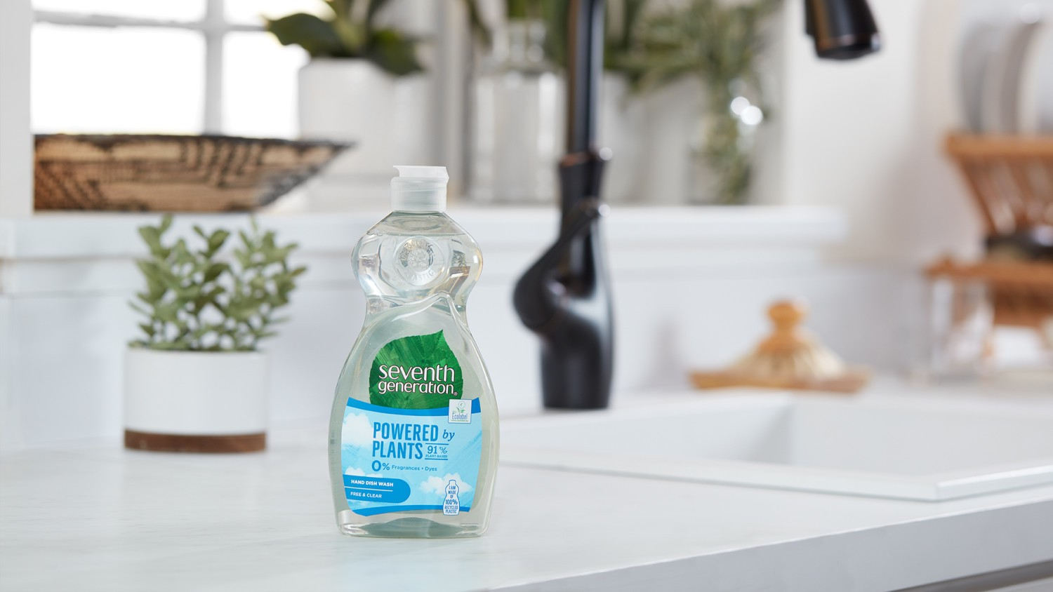Seventh Generation Washing up liquid on the kitchen counter